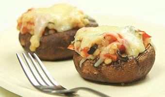 Couscous stuffed portobello mushroom caps with mozzarella-thumb