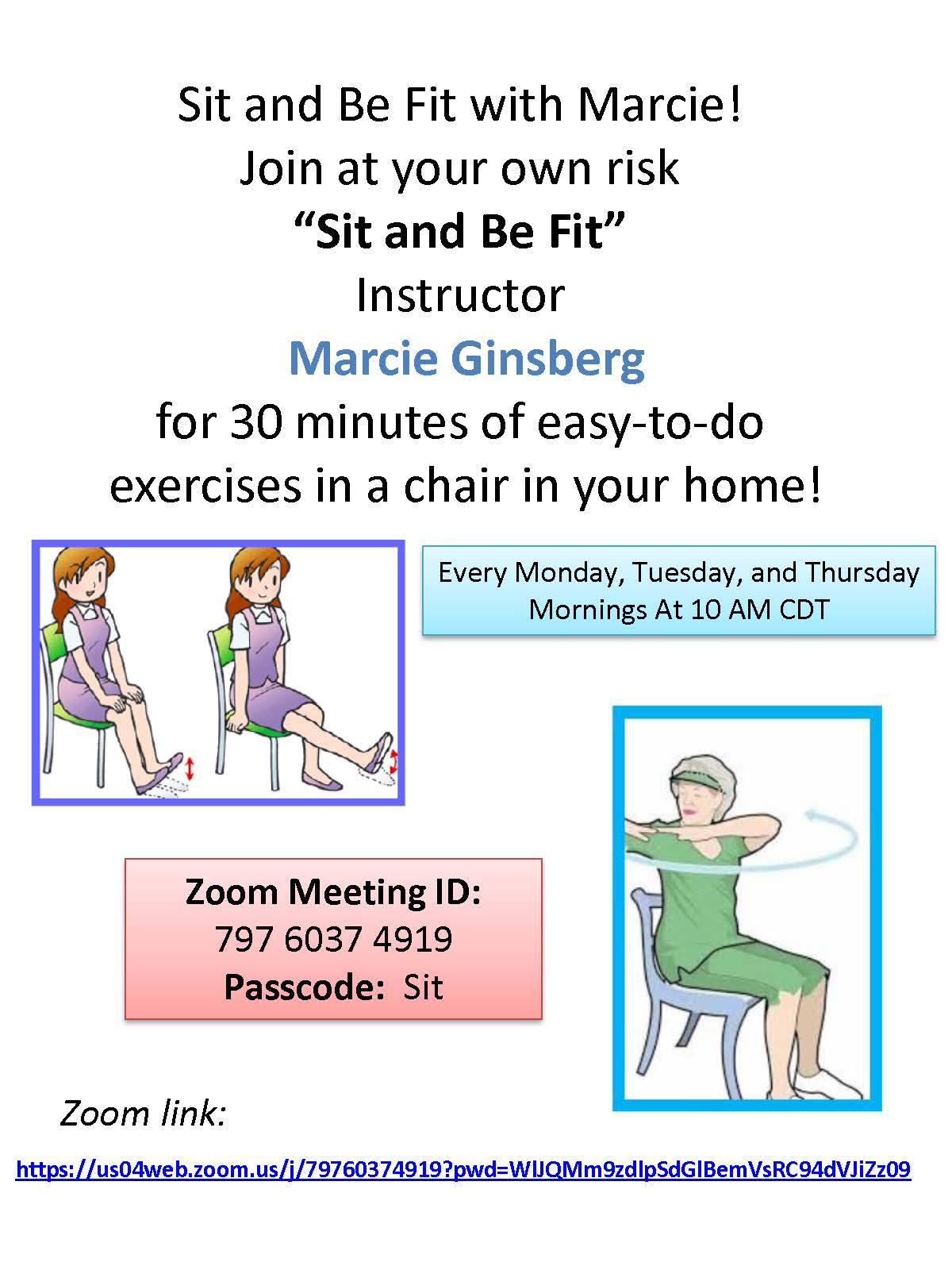 Sit and Be Fit -  30 minutes of easy-to-do exercises in a chair in your home!